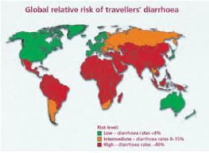 Diarrea del viaggiatore: mappa dei paesi più a rischio